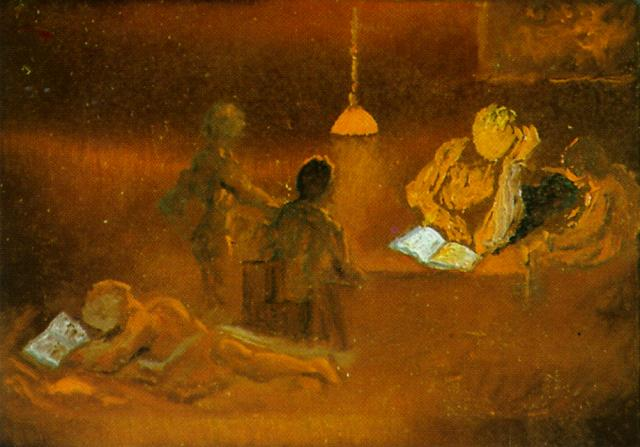 Reading. Family Scene by Lamplight 1981