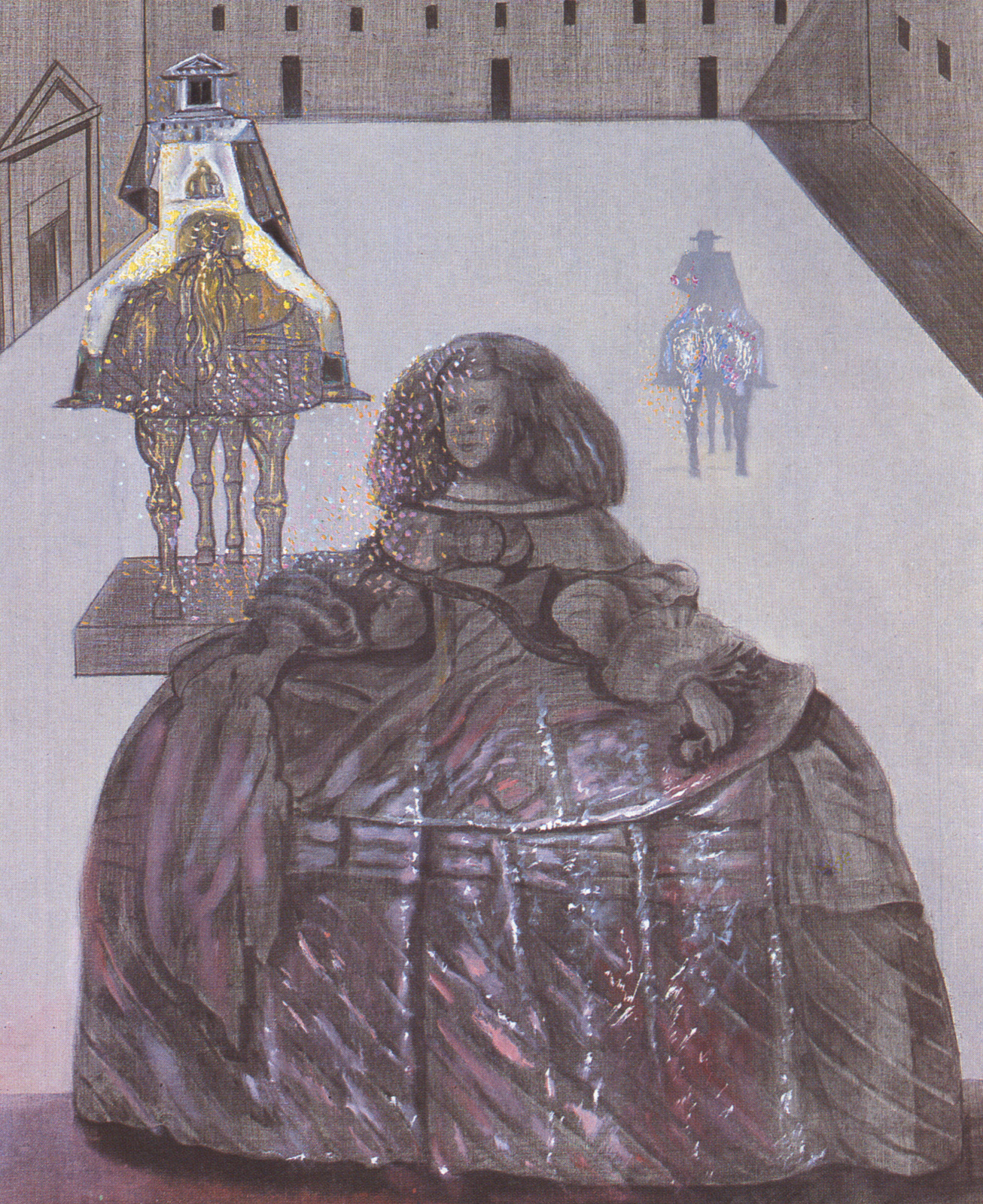 The Infanta Margarita of Velazquez Appearing in the Silhouette of Horsemen in the Courtyard of the Escorial 1982