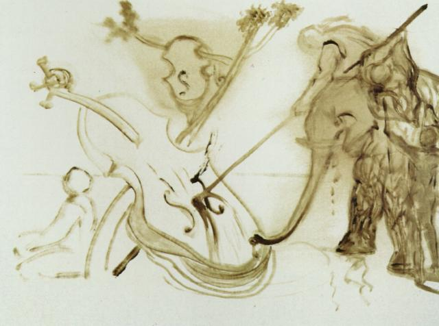 Warrior Mounted on an Elephant Overpowering a Cello 1983