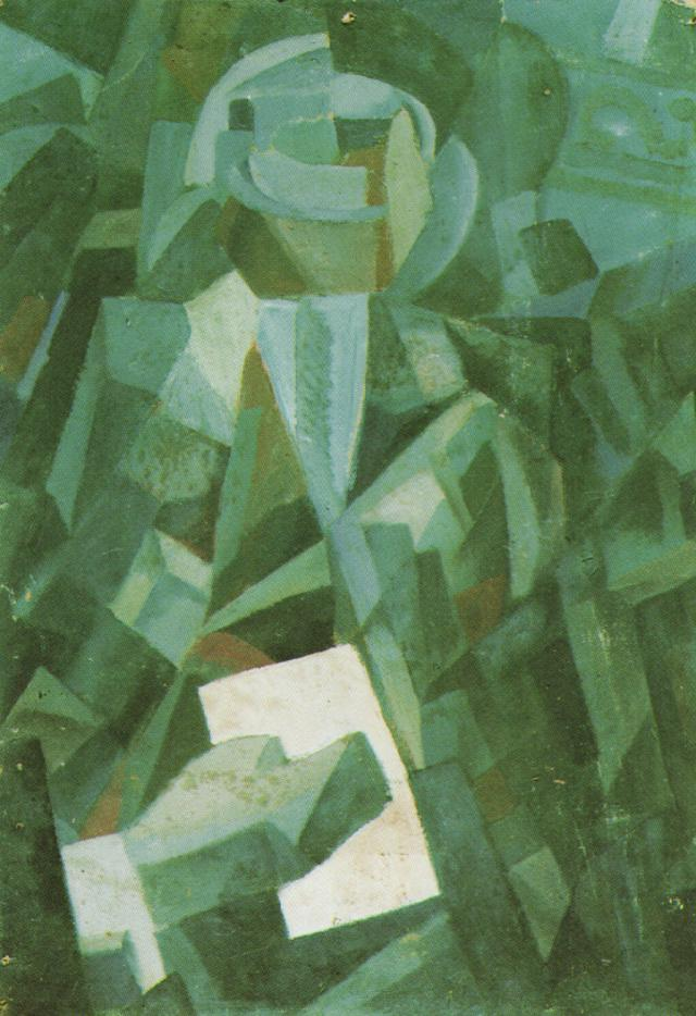 Cubist Composition. Portrait of a Seated Person Holding a Letter 1923