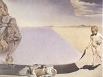 Dali at the Age of Six When He Thought He Was a Girl Lifting the Skin of the Water to See the Dog Sleeping in the Shade of the Sea 1950